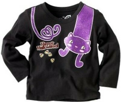 HAPPY HALLOWEEN Purple Cat T-Shirt Black Shimmer Long Sleeve 6-9 Months TCP NEW - Happy Halloween 9 Cats