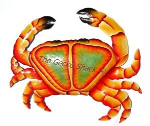 Beach Crab Metal Wall Art Recycled Ornamental garden Decor Beach House Sea Theme