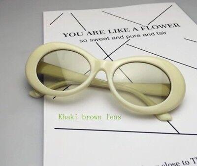 Sonnenbrille Oval Vintage Retro Kurt Cobain Nirvana Brille Hypebeast Beige 2020