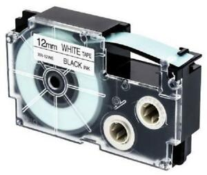 Weekly Promo!  Casio XR-12WE Label Tape, 12mm, Black On White, Compatible
