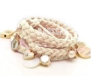 wrap string leather braid gold crystal charm bracelet anklet cuff black pink W56