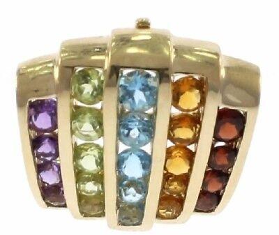 Multi-Color Genuine Gemstone Slide Pendant in 14 Kt Yellow -