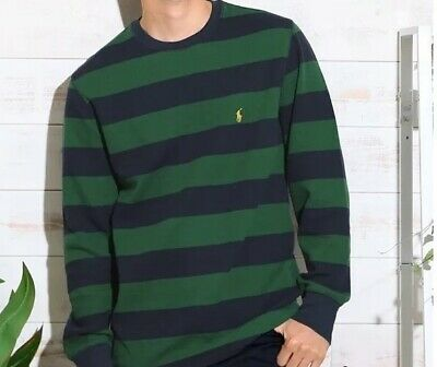 *New - Polo Ralph Lauren Mens Waffle Knit Thermal Long sleeve shirt Green/navy