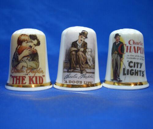 Birchcroft Thimbles -- Set of Three -- Charlie Chaplin Movie Posters