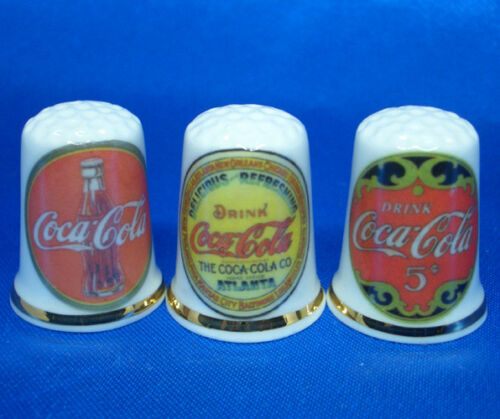 Birchcroft China Thimbles -- Set of Three -- Original Coca Cola
