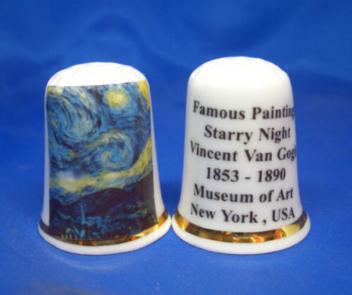 Birchcroft Thimble -- Famous Paintings - Starry Night by Van Gogh -- Free Box