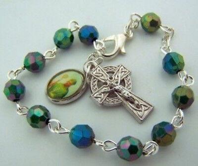 Acrylic Emerald Bead Silver Tone Irish St Patrick Celtic Rosary Bracelet,7 1/8In