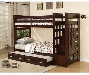 Bunk Bed Twin Over With Trundle Storage Drawer Stair Step Bedroom Furniture