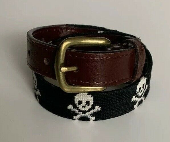 Smathers & Branson Needlepoint JOLLY ROGER Boys Belt -Size Small (2-4)