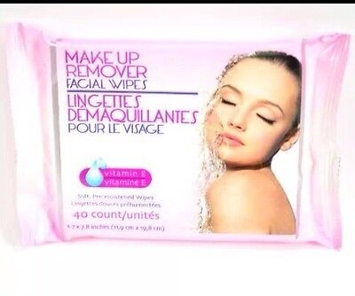 Makeup Remover Facial Wipes Soft Pre-moistened 40 Count Vitamin E Brand New