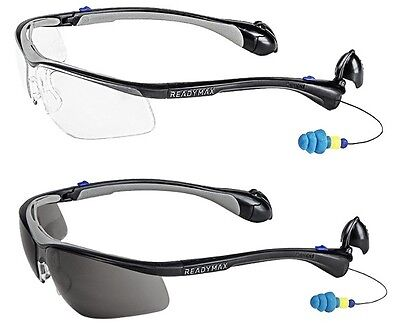 Readymax Classic Uv Outdoor Safety Glasses W Earplugs Eye Hearing Protection
