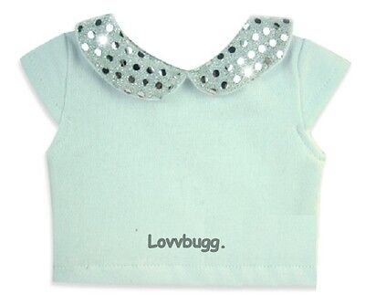 "Lovvbugg White Sparkle Sequins Collar T Shirt Top for 18"" American Girl Doll Clothes"