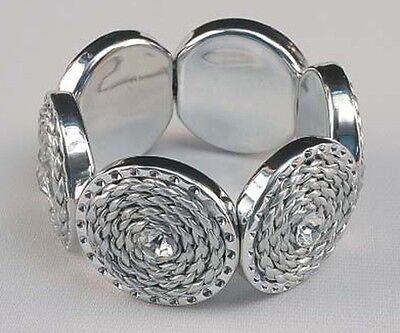 Silver Circular Bracelets - Glimmering Shining Silver Tone Circular Spiral Design Stretchable Bracelet 4