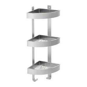 Stainless steel plastic corner shower shelf caddy organiser bathroom hooks ebay for Stainless steel bathroom shower shelves