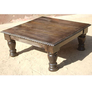 Unique Traditional Solid Wood Hand Carved Square Sofa Coffee Table New Condition Ebay