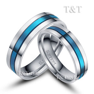 BRILLANT-T-T-6mm-316L-Stainless-Steel-Blue-Stripe-Wedding-Band-Ring-For-Couple