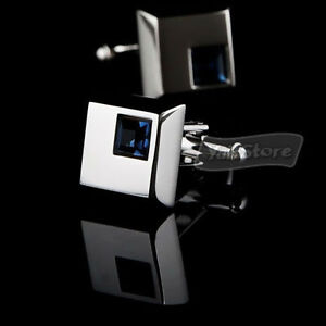 NEW-DRESS-Silver-Square-cuff-links-cufflinks