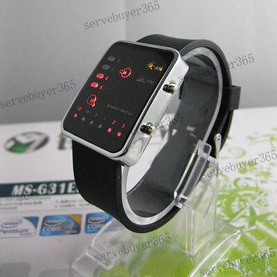 Led Display Digital Sport Binary Style Led Light Watch Wristwatch Black