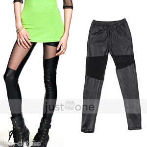 Fashion-Cool-Sexy-Black-Soft-Faux-Leather-Irregular-Skinny-Legging-Pants-Tights
