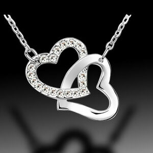 Silver 2 Love Heart 18k White Gold Plated Necklace Swarovski ELEMENTS Crystal AU