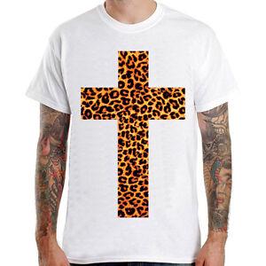 cross leopard design graphic gift idea cool rock men white