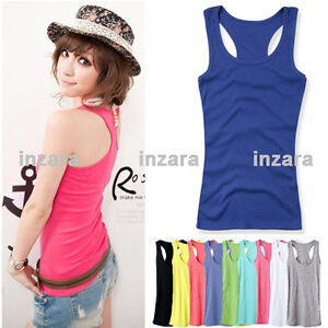 Womens-Mini-Sleeveless-T-Shirt-Girls-Tank-Tops-Ladies-Cami-Waistcoat-Vest-NEW