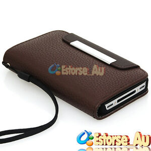 Brown PU Leather Flip Purse Pouch Wallet Credit Card Case Cover For iPhone 4S 4