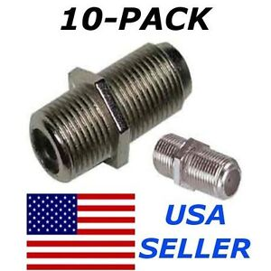 F Type Coax Coaxial Cable Coupler Female Jack Adapter Connector - 10 Pack Lot