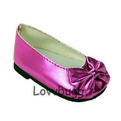 """Pink Ballet Flats Bow for 18"""" American Girl or Bitty Baby Doll Shoes"""