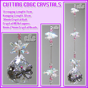 Dragonfly 30mm Crystal Ball Suncatcher B /Pewter/Swarovski Diamante/AB Octagons
