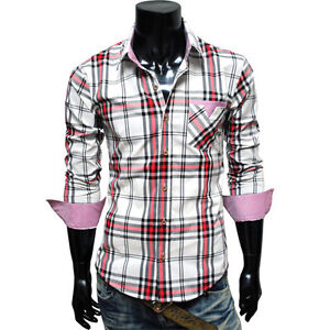 TheLees-NWT-Mens-casual-unique-Plaid-check-slim-fit-Dress-Shirts-Collection