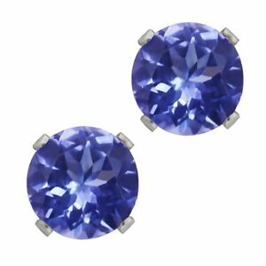 1.00 Ct Round Cut Genuine Tanzanite Solid 14K White Gold Stud Earrings 5mm