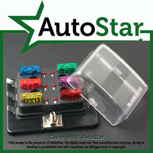 6-Way-Blade-Fuse-Box-1-Positive-Bus-in-12v-LED-WARNING-Kit-Car-Boat-Marine-Trike