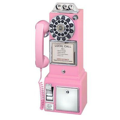 1950's Style Crosley Gameroom Pink Pay Telephone - Black, Red, Chrome, Avail
