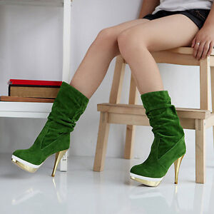 New-Womens-Green-Sexy-Suede-Plantform-Mid-Calf-High-Heel-Boots-US-Size-5-9-D059