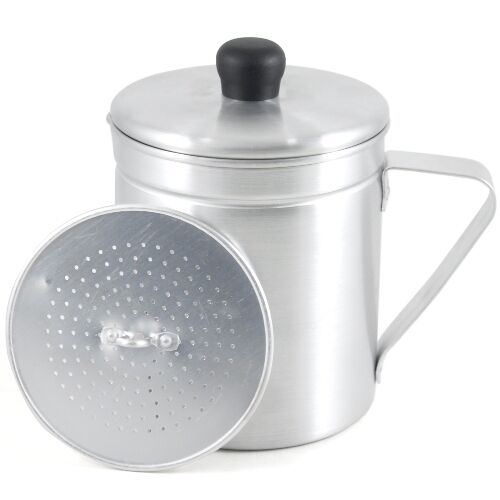 Aluminum Grease Save Pot W Strainer Cooking Oil Dispenser Container Keeper Imusa