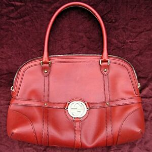 GUCCI-2004-Reins-Boston-Bag-Red-Leather-Handbag-Purse-Satchel-Authentic-Gucci