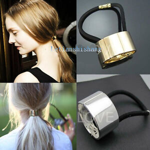 Celebrity-Style-Trendy-Metallic-Silver-Gold-Plated-Hair-Cuff-Ponytail ...