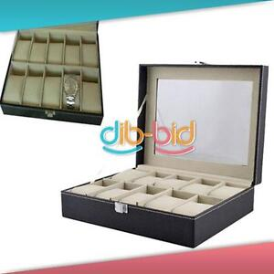10-Slots-Wrist-Watch-Display-Box-Jewelry-Holder-Organizer-Windowed-Case-Present