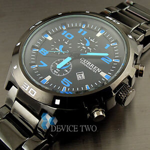 SPORT-WATER-QUARTZ-HOURS-DATE-HAND-BLUE-DIAL-CLOCK-MEN-STEEL-WRIST-WATCH-HW151