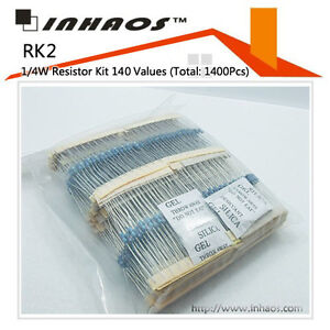 RK2-1-4W-1-Metal-Film-Resistor-Kit-140-Values-Total-1400Pcs