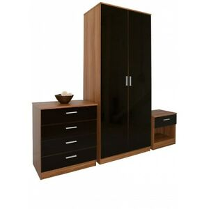 High gloss walnut wardrobe