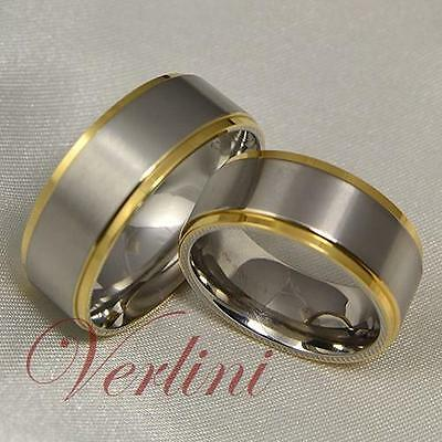 8MM Titanium Rings Matte & 14K Gold Matching Set Wedding Bands His & Her Jewelry