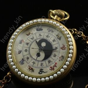 European Style Art Paint Open Face Chinese Words Dial Mechanism Pocket Watch New