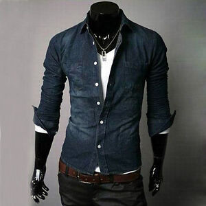 Mens-Jean-Shirt-New-Slim-Fit-Casual-Sexy-Shirt-Long-Cotton-Shirt-NEW-N02