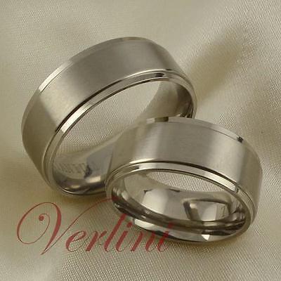 8MM Titanium Rings Matching Set His & Her Matte Wedding Anniversary Jewelry