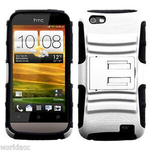 HTC-One-V-Virgin-Mobile-Hybrid-Hard-Case-Cover-Silicone-White-Black-ADV-Stand-M