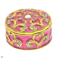 LOVELY PINK ENAMEL & CRYSTAL OVER BASE METAL ACCESSORIES BOX