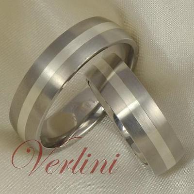 6mm Titanium Rings Set Wedding Bands Silver Inlay Men Wom...