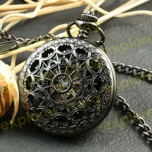 Steampunk-Black-engraved-spiderweb-Men-Mechanical-Pocket-Watch-Hand-winding-gift